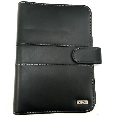 Franklin Covey Day One Black Faux Leather 7 Ring Binder White Stitch 10 X 6.5