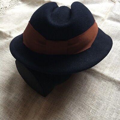 ge Damen Hut 100% Haar Wolle Navy Blau Edel Rar 1970er 55 S (1970er Haar)