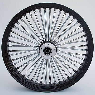 "Black/Chrome Ultima 48 King Spoke 21"" x 3.5"" Front Dual Disc Wheel for Harley"