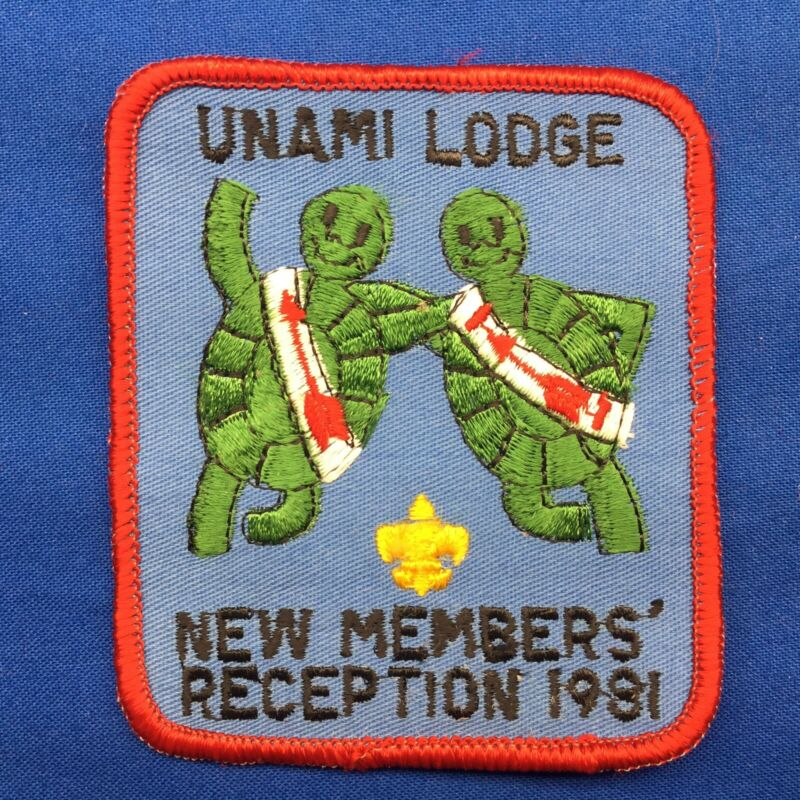 Boy Scout OA Unami Lodge 1 1981 New Members Reception Order Of The Arrow Patch