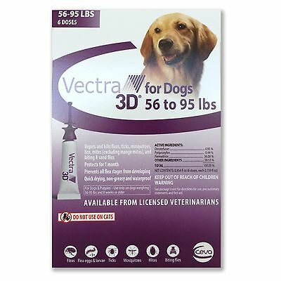 Vectra 3D for Large Dogs 56-95 lbs Flea and Tick Treatment 6 Month