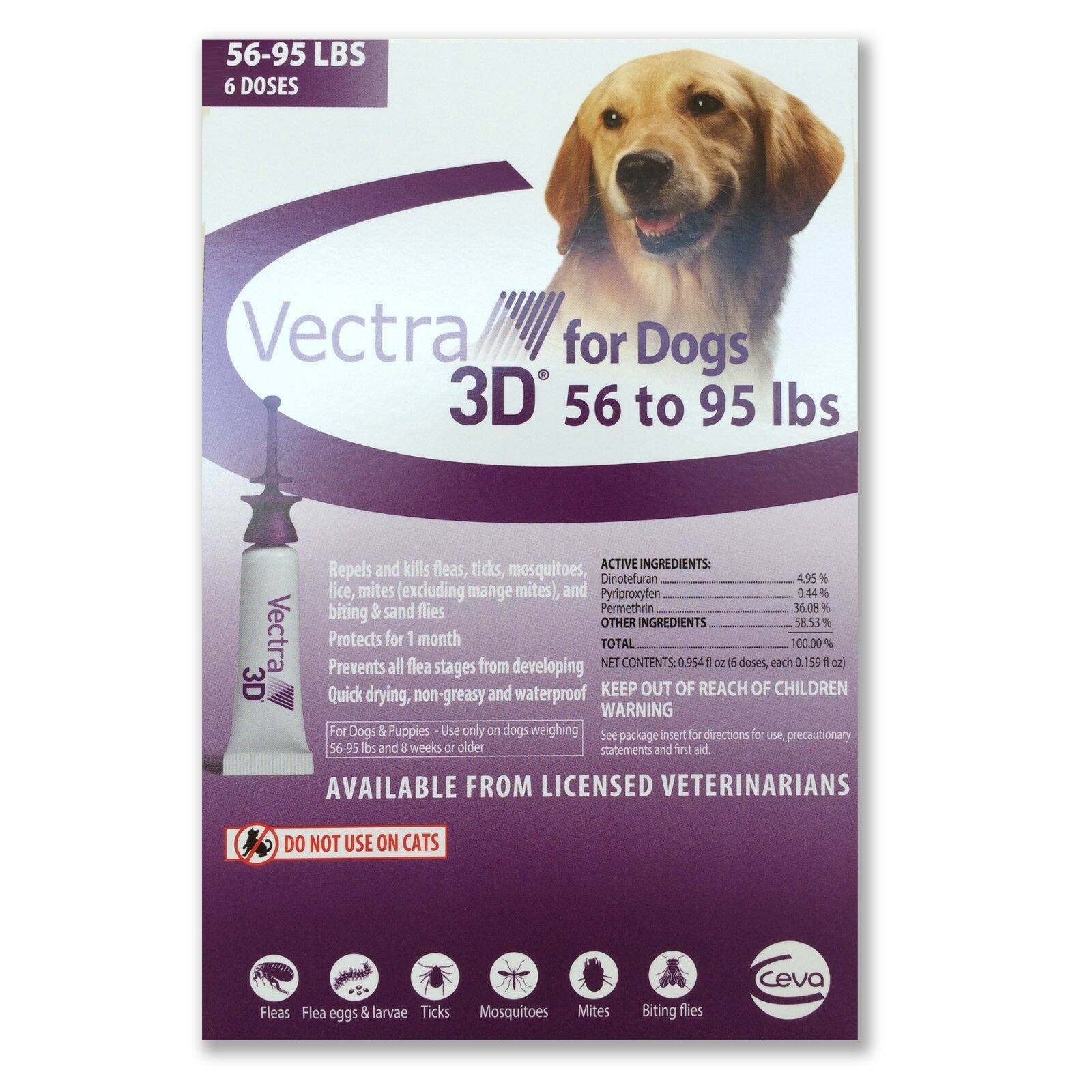 Купить Vectra - Vectra 3D for Large Dogs 56-95 lbs Flea and Tick Treatment 6 Month