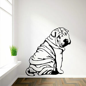Shar pei sharpei art mural en vinyl autocollant d calque canine animal a th me ebay for Autocollant decoratif mural