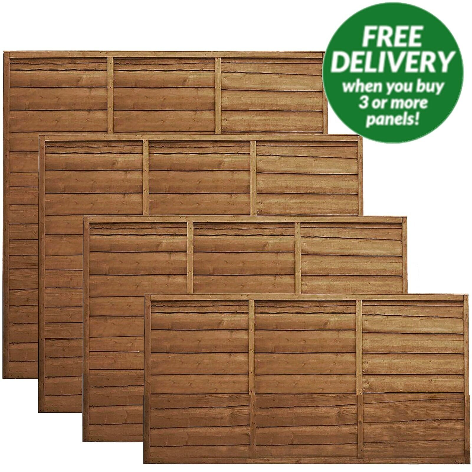garden fence - 6ft 5ft 4ft 3' PRESSURE TREATED WANEY EDGE LAP FENCE PANEL TANALISED WOOD PANELS