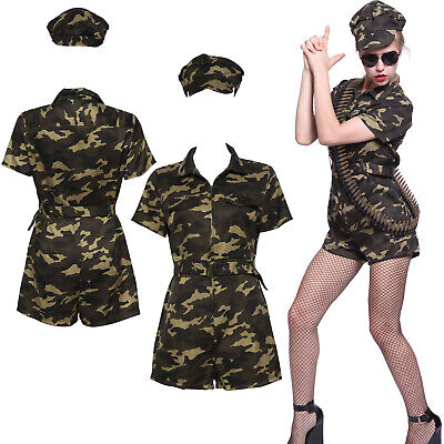 Lady Army Girl Costume Commando Soldier Camo Fancy Dress Uniform Jumpsuit S M L