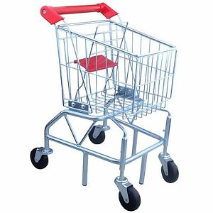 Toys Kids Metal Shopping Cart with Folding Seat, Toddler Preschool Play Toy