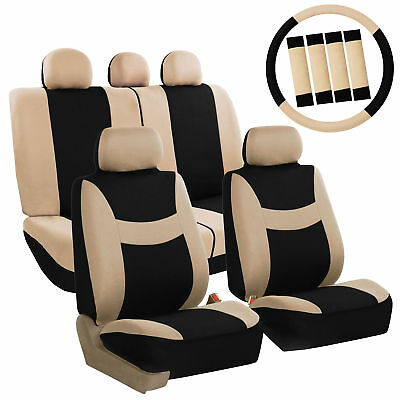 - Car Seat Covers Beige Full Set for Auto w/Steering Wheel/Belt Pad/5Head Rest