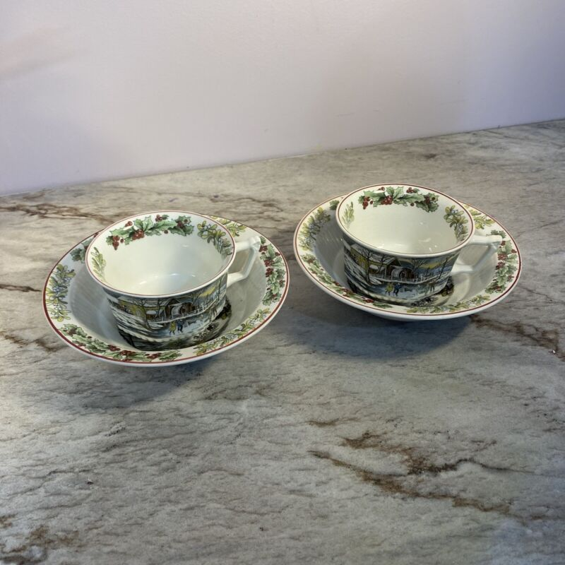 """2 Adams China Winter Scenes 6"""" Rimmed Cereal Bowl  And 2 Tea Cups"""