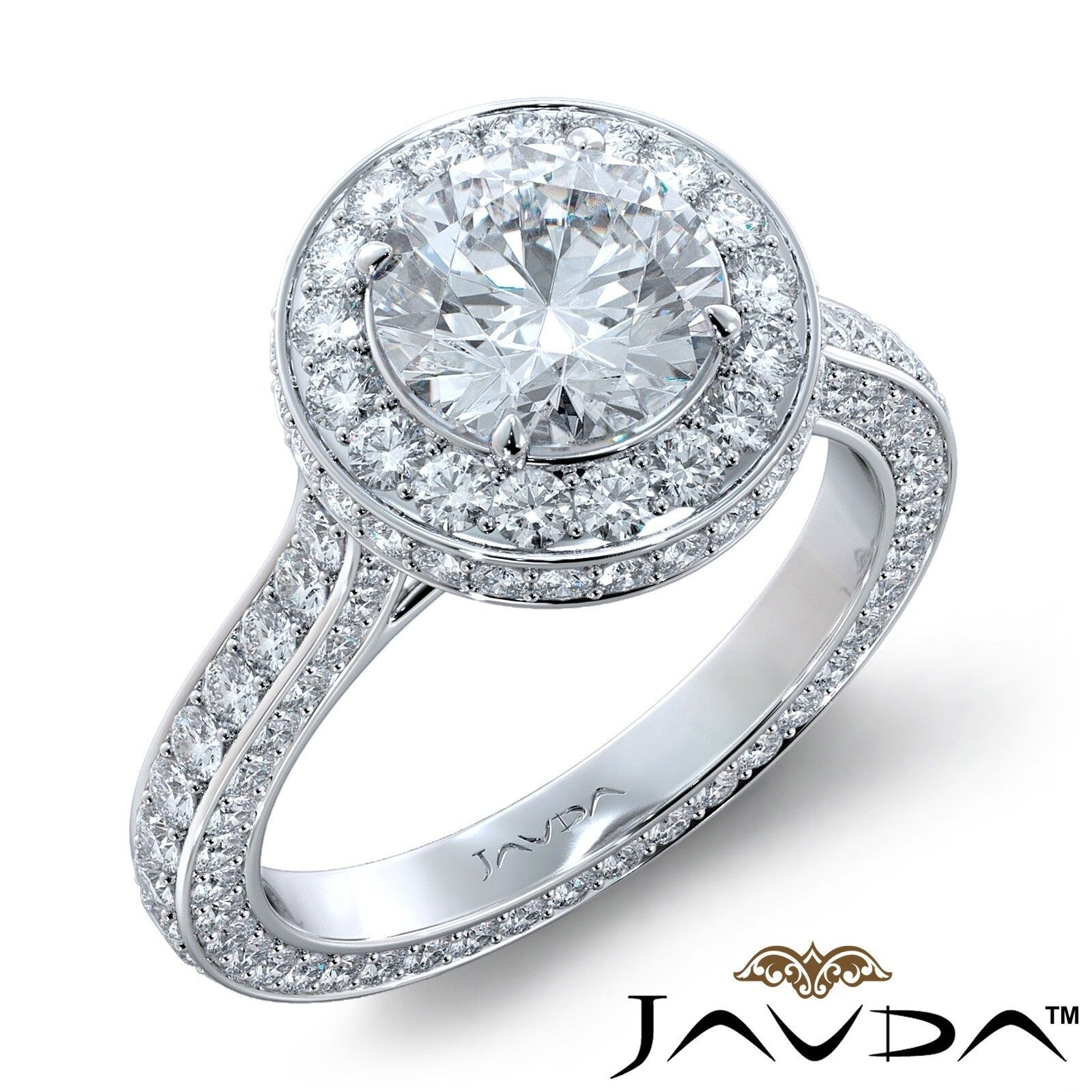 3.2ctw Accent Eternity Halo Pave Round Diamond Engagement Ring GIA F-VVS1 W Gold