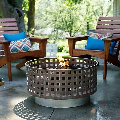 Outdoor 30 Inch Fire Pit Wood Burning Round Design Basin Steel Deck Backyard