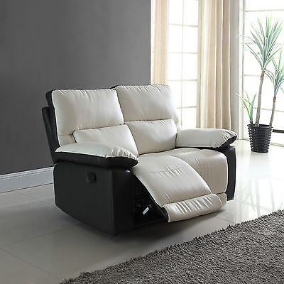 Latest Living Room Two Tone Bonded Leather Oversize Recliner Loveseat Sofa