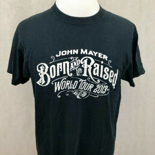 John Mayer T-Shirt Large Mens Black Born Raised Tour 100% Cotton Concert Tee