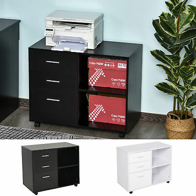 Homcom Wooden File Cabinets 3 Drawer Side Cabinets Wheels Simple