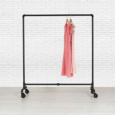 Industrial Pipe Rolling Clothing Rack By William Roberts Vintage - 48 Wide