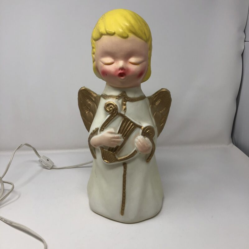 """Vintage Poloron Angel Blow Mold Lighted 14"""""""