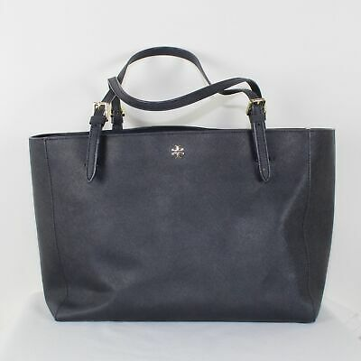 Tory Burch Ladies Saffaino Leather Navy Blue Large Toe Bag