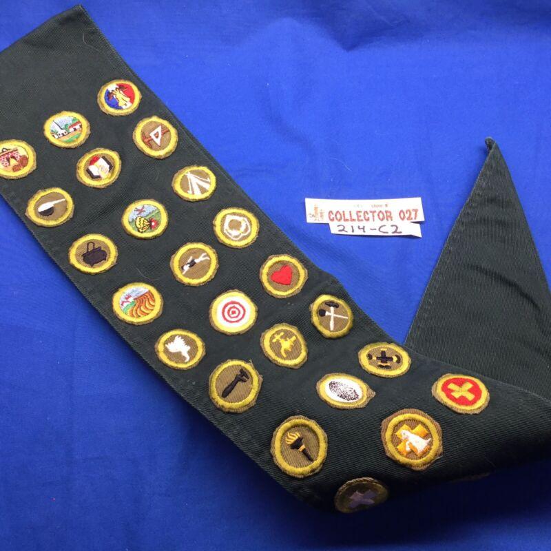 Boy Scout Dark Green Merit Badge Sash With 26 Merit Badges