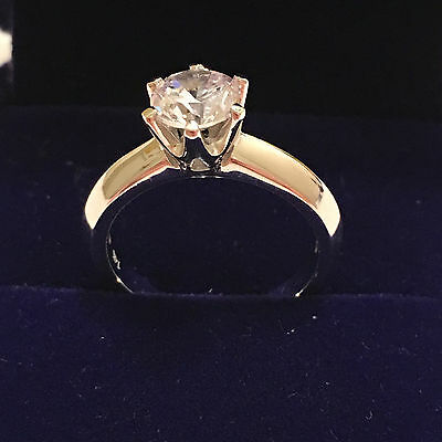 1 Carat D VS2 Enhanced Diamond Engagement Ring Round Cut 14K White Gold Enhanced