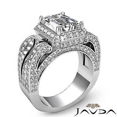 3 Row Shank Radiant Diamond Engagement Pave Ring GIA G Color SI1 Clarity 2.7 Ct 1