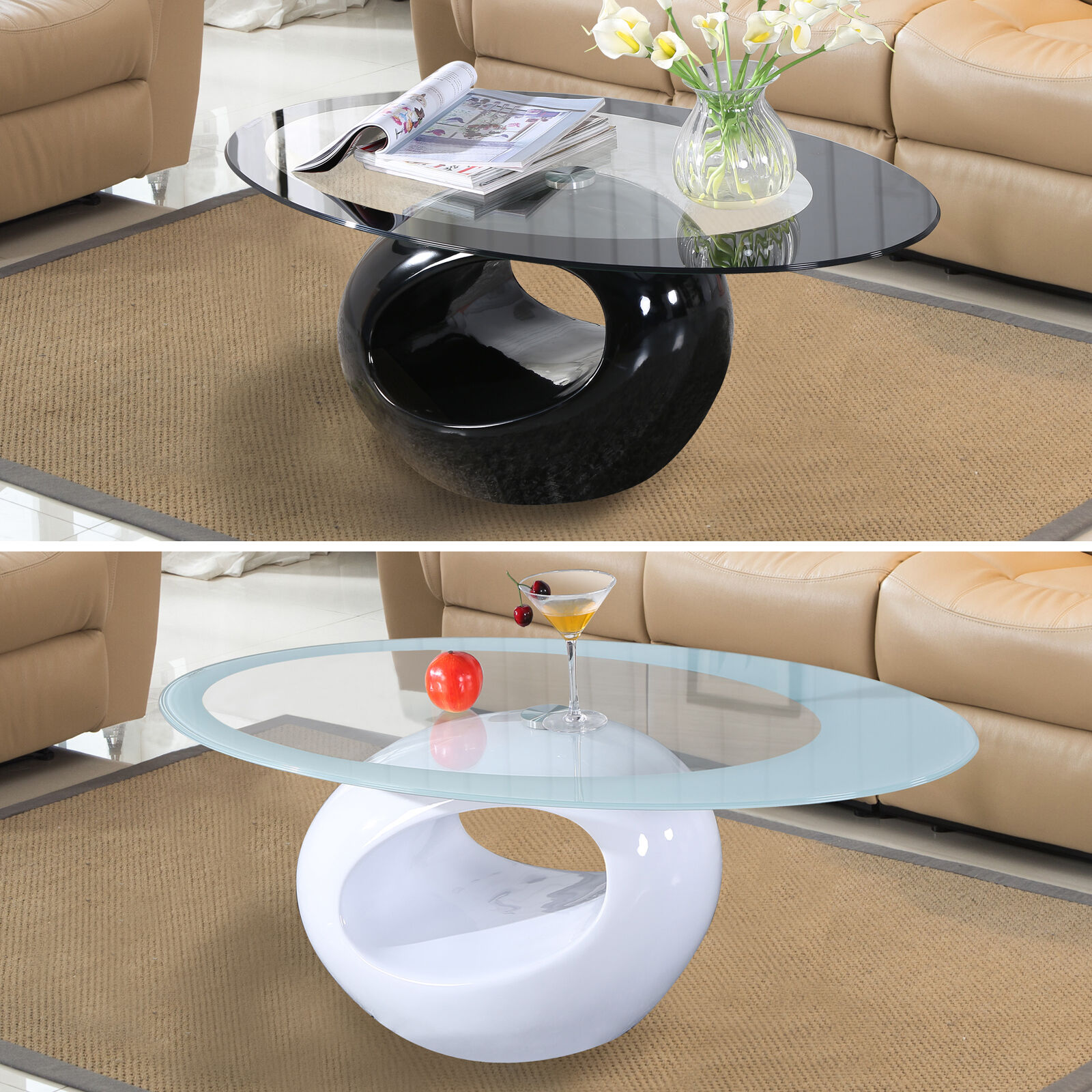 Modern High Gloss Glass Top Coffee Table White Black Round Side