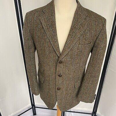 Johnstons Of Elgin Men 44R Scottish Wool Blazer Harris Tweed 3btn Lined Dbl Vent