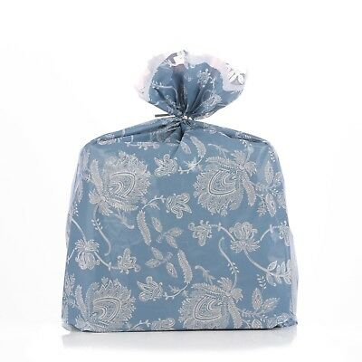 Reusable Blue Toile Plastic Gift Wrap Bags W/Silver Twist Ties - 4 Pk - 21