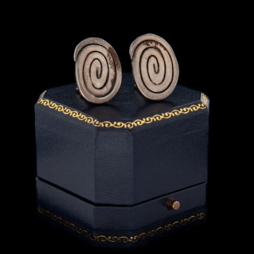 Vintage Designer Sterling 925 Silver Modernist Geometric Swirl Cluster Earrings
