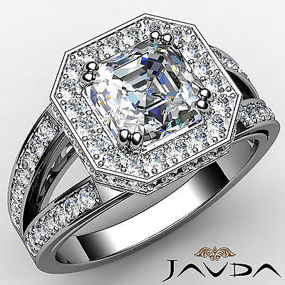 1.63ct Halo Pave Asscher Diamond Engagement 14K White Gold I SI1 GIA Unique Ring