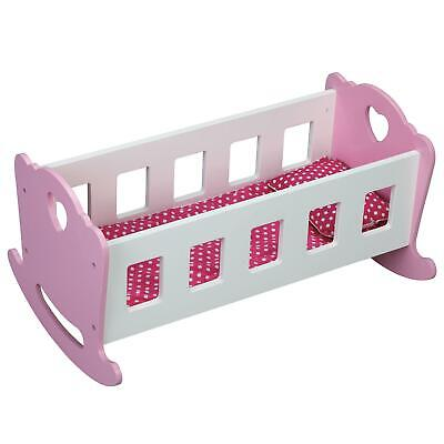 Molly Dolly Wooden Dolls Rocking Cradle/Crib Wood Rocker Cot Bed & Bedding