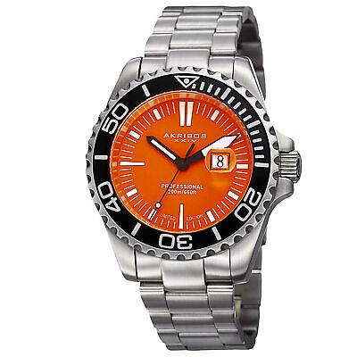 Men's Akribos XXIV AK735OR Limited Edition Orange Dial Diver Date Bracelet Watch