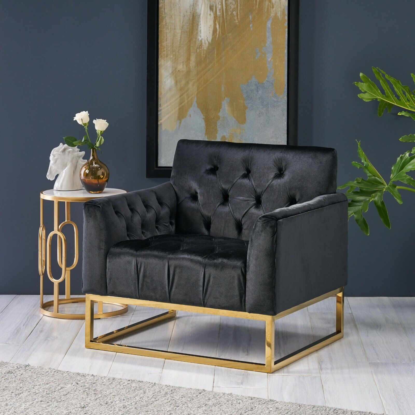 Doris Modern Glam Button Tufted Diamond Stitch Velvet Club Chair with Gold Frame Chairs