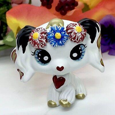 Littlest Pet Shop Cocker Spaniel Dog, W/flowers ooak Custom Hand Painted LPS