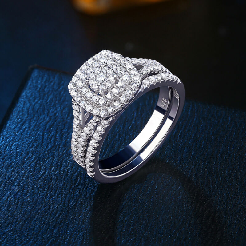 Flower Engagement Wedding Ring Set For Women 1.1ct Halo Aaaa Cz Sterling Silver