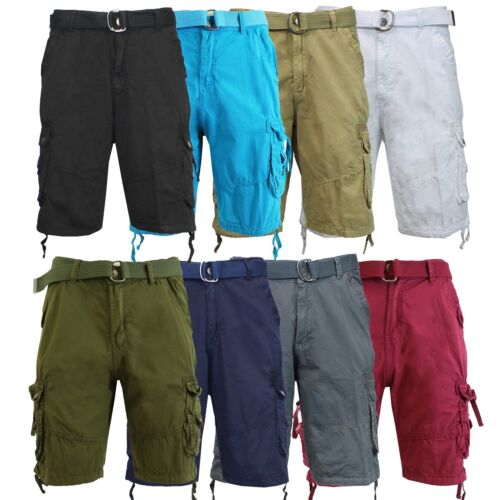 Mens Cargo Shorts With Belt 30 32 34 36 38 40 42 44 Casual Cotton Black Khaki