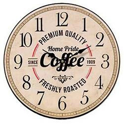 Vintage Chic Retro Diner Country Style COFFEE Wall Clock~Kitchen Farm Home Decor