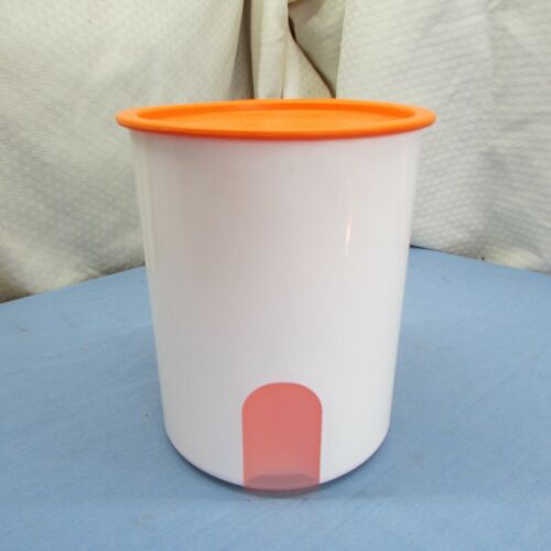 Tupperware One Touch Canister White w/Orange Lid  2418B