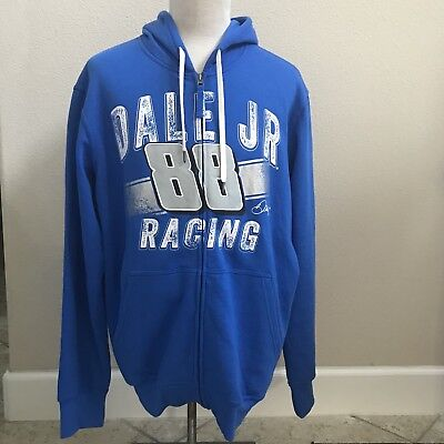 Nascar Team Apparel Dale Earnhardt Jr Blue Zip-Up Hoodie Mens L {D0} Dale Earnhardt Jr Apparel