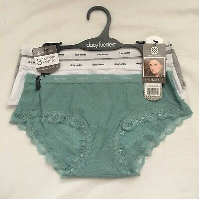 3 Pair Daisy Fuentes Hipster Panties, Size S, M, L, XL Gift, Lace, Sexy Teal P