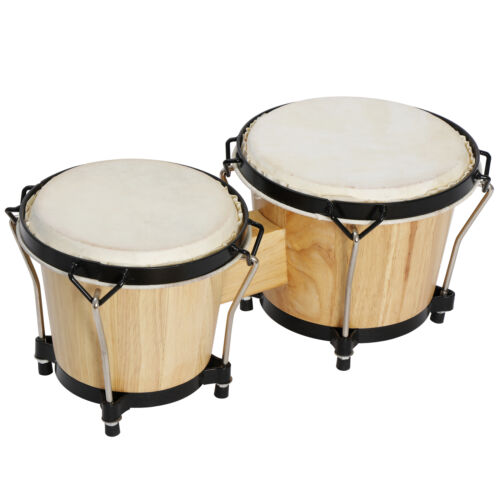 """Wood Bongo Drum Set 6"""" and 7"""" Percussion Instruments Musical Toy for Kids Adult Drums"""