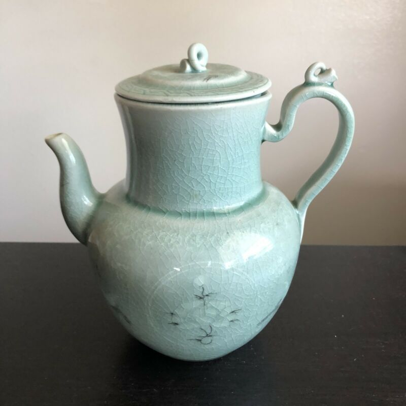Fine Old Korean Celadon Lidded Teapot Kettle Pot Cranes Art Handmade VERY NICE
