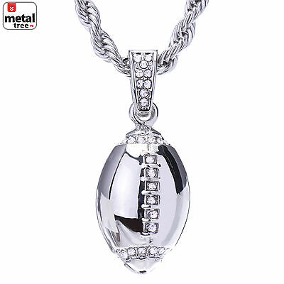 Men's Silver Plated Iced Out Football Pendant Rope Chain 24