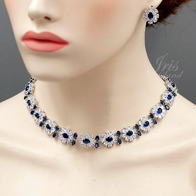 Gold Sapphire Set (White Gold Plated Sapphire Zirconia CZ Necklace Earrings Wedding Jewelry Set)