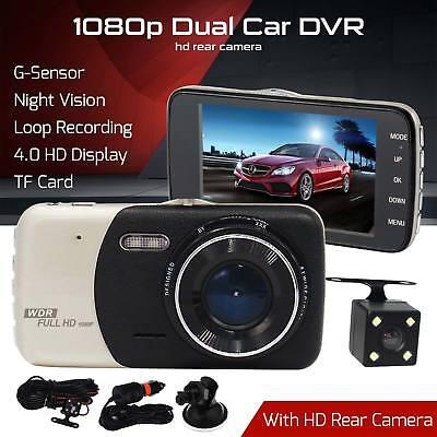 HD 1080P Dual Lens Car Van Dash Cam DVR Recorder 4″ LCD With Rear Video Camera