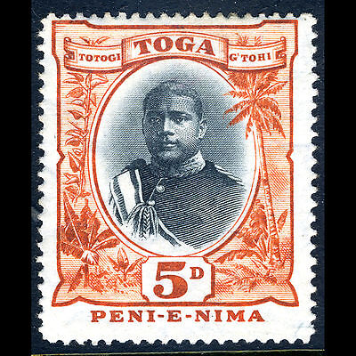 TONGA 1897 5d Black & Orange. SG 46. Hinge Remain. Mint Hinged. (CA48N)