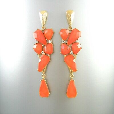 Gorgeous Faceted Crystal Glass Rhinestone Gold Dangling Earrings Post Fashion