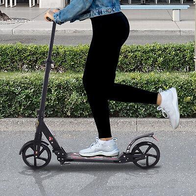 HOMCOM Folding Kick Scooter 2 Big Wheels Teens Adult Adjustable Ride On Black