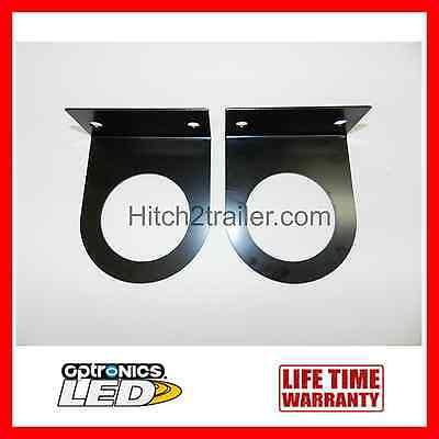 "(2) Black Mounting Brackets 2-1/2"" round Light, Powder Coated, trailer Optronics"