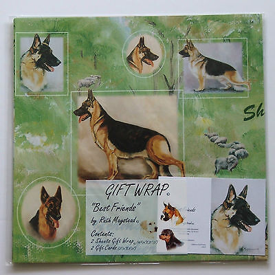 German Shepherd Themed Gift Wrap Wrapping Paper 2 Sheets 2 Gift cards Dog Breed