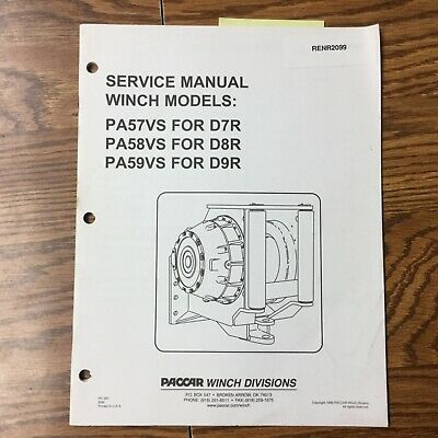 Cat Caterpillar Pa57vs Pa58vs Pa59 Winch Service Shop Repair Manual Guide Paccar
