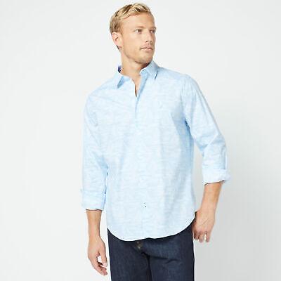 Nautica Mens Classic Fit Long Sleeve Tonal Boat Print Shirt
